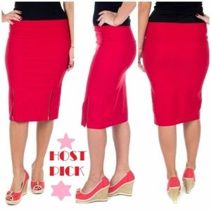 Women Stretch Pencil Skirt, D-4023, Red